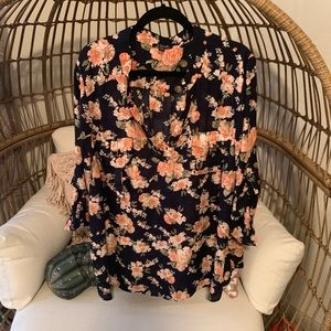 Navy and pink floral career pullover top